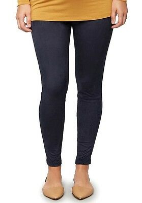 NWT Pea in the Pod Size Medium Navy Blue Faux Suede Leggings - Under Belly