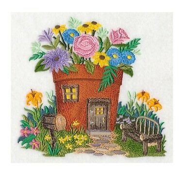 Completed Machine Embroidered Fairy Garden House
