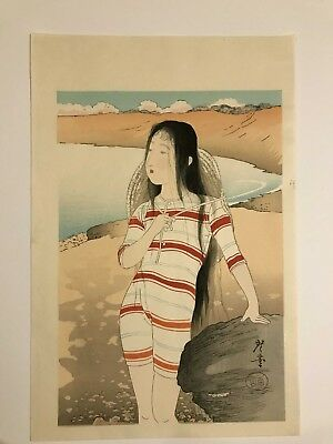 Vintage Japanese Woodblock Young Swimmer c. 1920s Artist Unknown