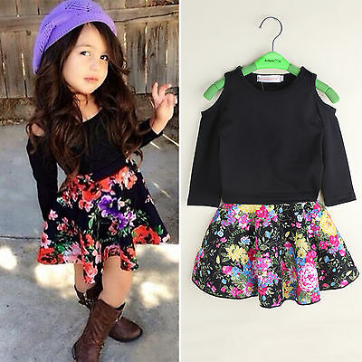 2PCS Toddler Kids Baby Girls Outfits Clothes Long Sleeve Shirt Tops+Floral Skirt