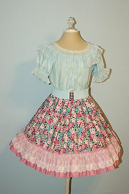 Square Dance Outfit - 2 Piece, Skirt and Blouse, with Belt