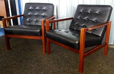 Stunning pair of vintage mid century Danish style armchairs by Cintique.