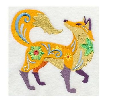 Completed Machine Embroidered Flower Power Fox