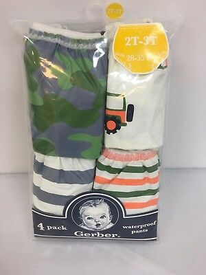 New 4 Pack Gerber Waterproof 100% Peva Pants Covers Boys 3T-4T