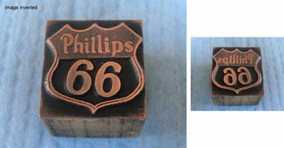 "Antique ""PHILLIPS 66"" Printer Block: Oil & Gas Co Collectible; Copper on Wood"