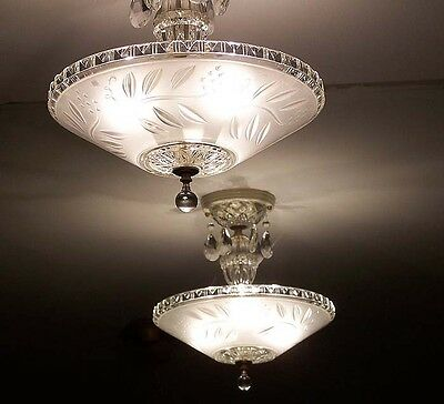 975 STUNNING arT Deco Vintage Ceiling Lamp Fixture Glass Chandelier 3 Lights
