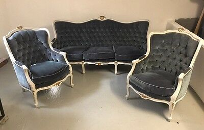 Chippendale Set- Garnitur Sofa  Couch 2 Sessel