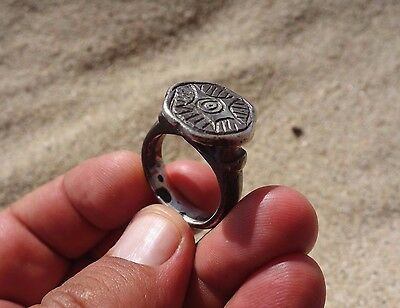 Medieval - Crusade silver engraved ring pentagram with eye in middle,sacred seal