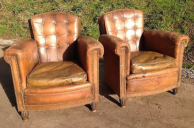ORIGINAL PAIR ANTIQUE 1920s 1930s TAN LEATHER BUTTON BACKED CLUB CHAIRS X2