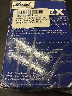 USED!Markal Pro-Ex Contractors Grade Lumber Yellow Crayons BLUE -PACK OF 12