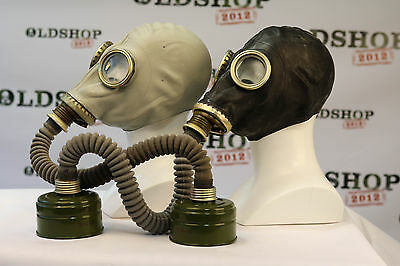 SET of BLACK & GREY SOVIET RUSSIAN Gas Masks GP-5 with filters and GREY hoses