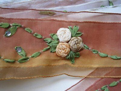 Fabulous Vintage Style Ombre Ribbon Trim With Ribbon Flowers   1 Yard