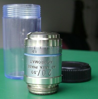 AO Cat. 1217A LWD 20X Phase Microscope Objective w/ Correction Collar N.A. 0.50