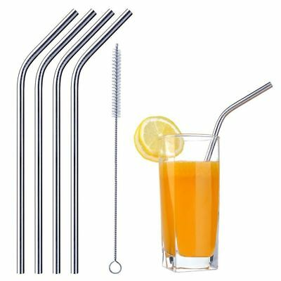 Stainless Steel Metal Drinking Straws Reusable with Cleaning Brush & 4 Pieces