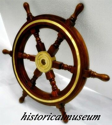 "Deluxe Class Wood HM310 Brass Ship Wheel 18"" / Nautical Decor / Ship Wheels"