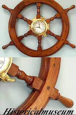 Deluxe Class Wood HM168 Brass Ship Wheel Clock 18