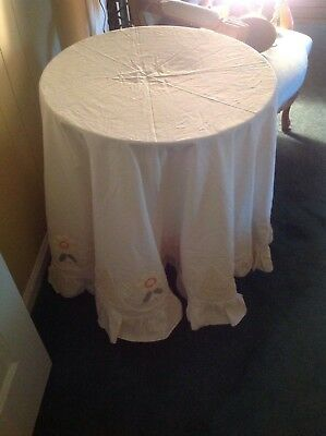TABLECLOTH embroidered and Crochet, ROUND Table   70""