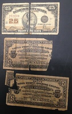 Canada 25 Cents 1923, United Profit sharing coupons 3 Notes lot World Shipping