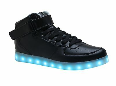 LED Luminous Light Up Sneakers Rechargeable Black High Tops US Women 6