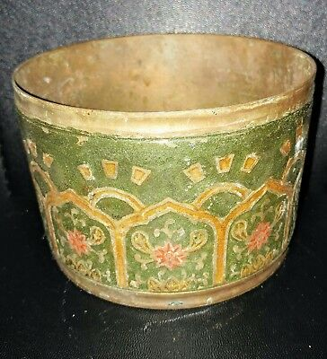 Antique Vintage Color  Etched Brass Bowl Planter