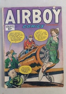 AIRBOY COMICS Vol. 4 No 8 1947 - COOL!! Also THE HEAP and RACKMAN