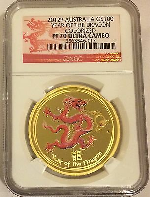 Australia 2012 $100 Year Of The Dragon 1 Oz. .9999 Gold Ngc Pf70 Ultra Cameo