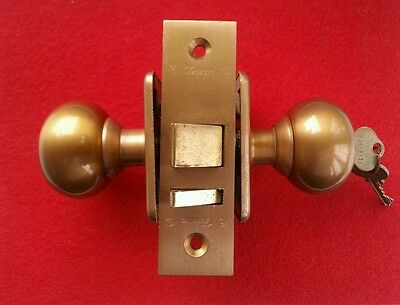 Fenestra mortise lock with keys, knobs and escutcheon plates - clean vintage