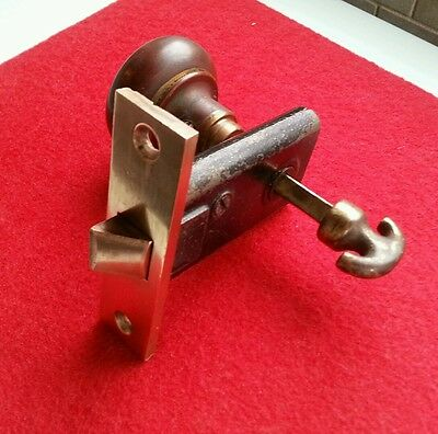 Mortise latch - antique brown knob and thumb turn -  for cabinet or closet lock