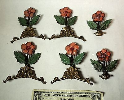 Antique vtg 1920s Art Deco Brass Metal Architectural Decorative Hardware Flowers