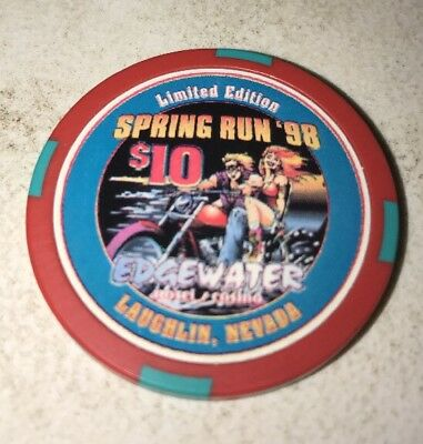 Edgewater Hotel $10 Casino Chip Laughlin Nevada 2.99 Shipping