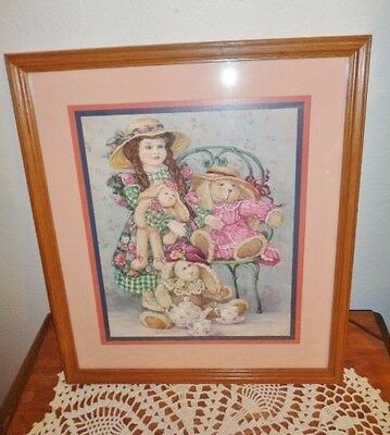 Picture Home Interior Barbara Mock Doll bunny rabbit tea party pink Girl Easter