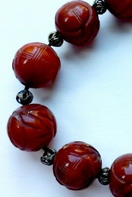 "Vintage Chinese Imitation Carnelian""/Jade :Copy Of Shou-BEADs- BRACELET-gold"