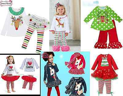 NEW Girl's Christmas Tutu Santa Reindeer Holiday Party 2 PC Leggings Outfit Set