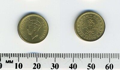 Hong Kong 1949 - 5 Cents Nickel Brass Coin - King George VI - #4