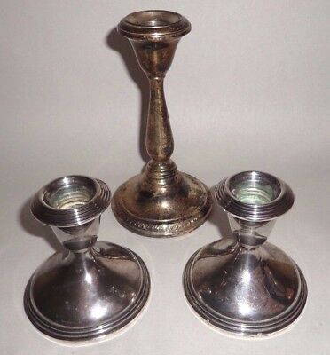 Sterling Weighted Silver Candle Holders SCRAP Or USE 760 Grams NR