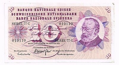 1972 SWITZERLAND 10 FRANCS NOTE - p45r