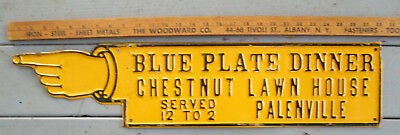 Old Tin Sign - Chestnut Lawn House - Palenville NY - Pointed Finger - Dinner