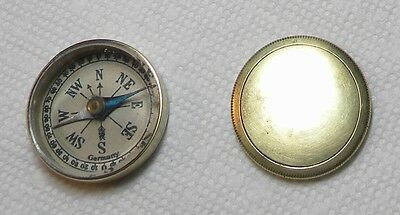 Pre WW 2 Brass Cased & Cover Field Pocket Compass Beveled Glass Made In Germany