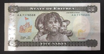 State Of Eritrea 5 Nakfa  Bank Note Unc/aunc