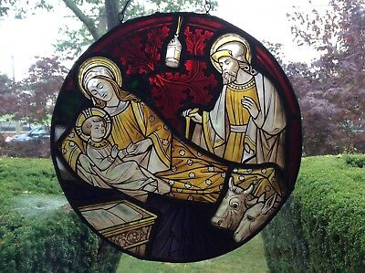 Antique Religious Stained Glass Round Window Panel Jesus Mary Joseph Animals