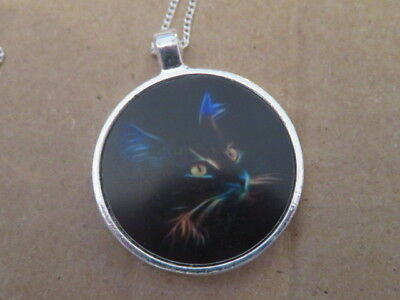 """Cat Image on a Disk Pendant with 17"""" Chain Very Pretty"""