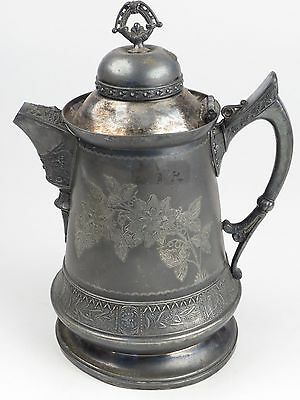 Antique Silverplate Water Pitcher Homan Quad plate Aesthetic Movement Owl Moth