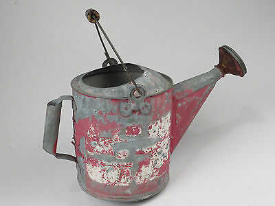 Antique Galvanized Watering Can Garden Tool Red Paint Shower Head