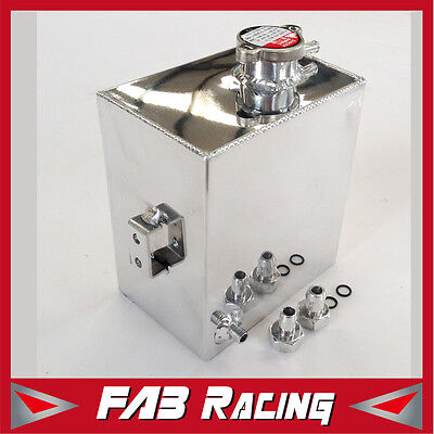 Universal Aluminum Radiator 2.5L Overflow Coolant Tank Expansion Bottle Polished