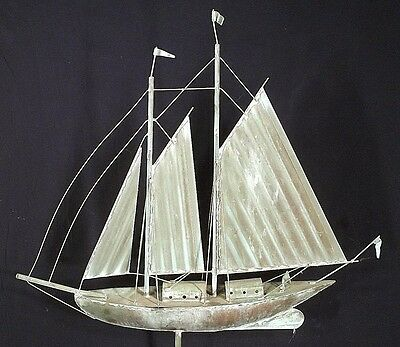 ANTIQUE EARLY 20th CENTURY COPPER SAILBOAT WEATHERVANE BY MAKER E.G.WASHBURN