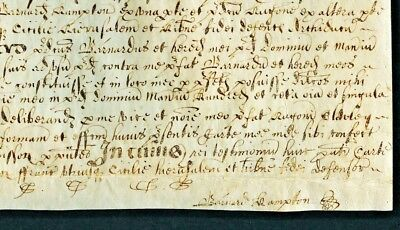 """1556 QUEEN """"BLOODY"""" MARY INDENTURE Barnard Hampton PRIVY Council SIGNED Deed"""