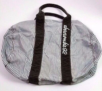 Abercrombie and fitch kids striped duffle bag white brown embroidered