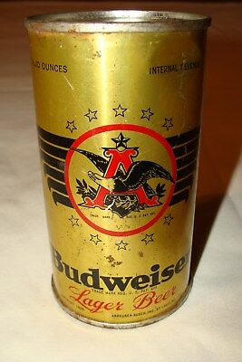 Vintage Budweiser Lager  12 Fl Oz Steel Flat Top Beer Can Oi/ Irtp 1940's