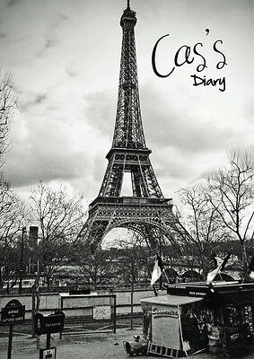 2018 diary personalised with your name b/w effiel tower