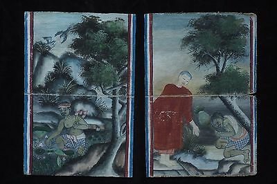 Set Antique Thailand Manuscript Painting from the 19th Century on book  -015
